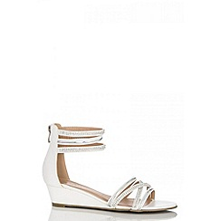 Quiz - White diamante strap low wedge sandals