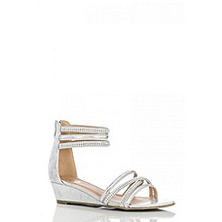 Quiz - Silver diamante strap low wedge sandals