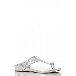 Quiz - Silver Diamante Toe Ring Flat Sandals