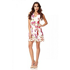 Quiz - Cream floral print pleat skater dress