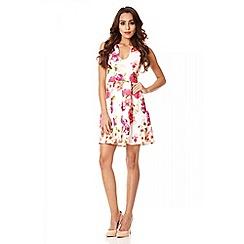 Quiz - Cream floral print pleat skater dress