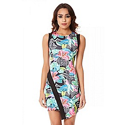 Quiz - Black Jungle Print Asymmetric Front Dress
