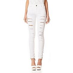 Quiz - White Ripped Detail High Waist Jeans