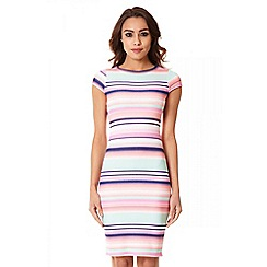 Quiz - Pink Crepe Stripe Midi Dress