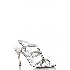 Quiz - Silver Diamante Loop Strap Sandals