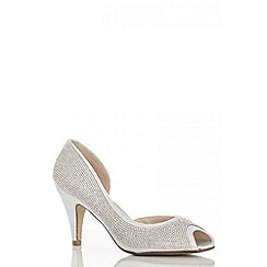 Quiz - Silver Diamante Peep Toe Court Shoes