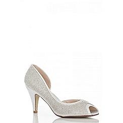 Quiz - Silver Diamante Peep Toe Court Shoes
