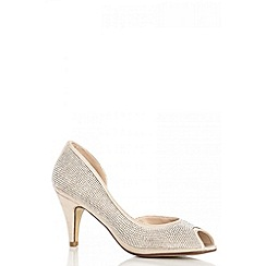 Quiz - Gold Diamante Peep Toe Court Shoes