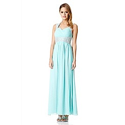 Quiz - Aqua Chiffon Embellished Maxi Dress