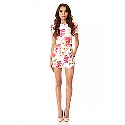 Quiz - Cream Floral Print Zip Back Playsuit