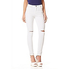 Quiz - White Knee Rip High Waist Jeans
