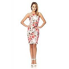 Quiz - Cream crepe floral print midi dress