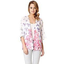 Quiz - White Chiffon Floral Print Kimono