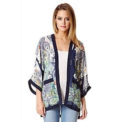 Quiz - Blue Paisley Print Chiffon Kimono