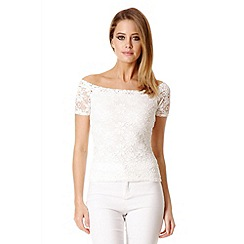 Quiz - Cream Lace Bardot Top