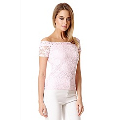 Quiz - Pink Lace Bardot Top