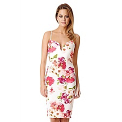 Quiz - Cream Floral Print Midi Dress