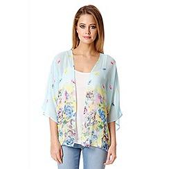 Quiz - Blue Chiffon Floral Print Kimono
