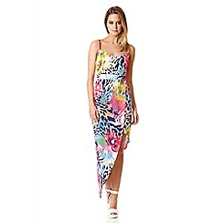 Quiz - Multi Colour Print Dip Side Dress
