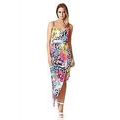 Quiz - Multi Colour Print Dip Side Dress