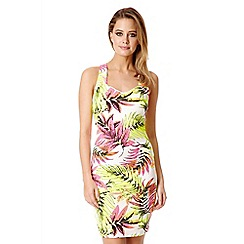 Quiz - Cream Tropical Print Strap Back Dress