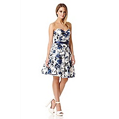 Quiz - Blue Floral Print Crossover Front Bandeau Dress