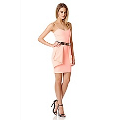 Quiz - Coral Fold Front Belt Dress