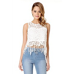 Quiz - White Floral Crochet Fringe Hem Top