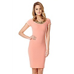 Quiz - Coral Cut Embellished Neck Dress