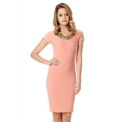 Quiz - Coral Cut Embellished Neck Dress