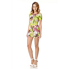 Quiz - Cream Tropical Print Crepe Playsuit