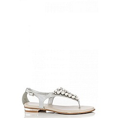Quiz - Silver Round Diamantes Sandals