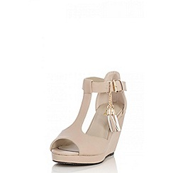 Quiz - Nude Tassel Wedges
