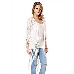 Quiz - White Lace Fringe Kimono