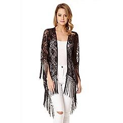 Quiz - Black Lace Fringe Kimono