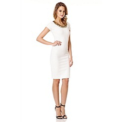 Quiz - Cream Cut Embellished Neck Dress