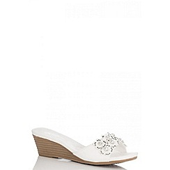 Quiz - White Diamante Flower Wedges