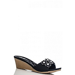 Quiz - Black Diamante Flower Wedges