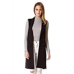 Quiz - Black Crepe Lapel Front Waistcoat