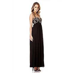 Quiz - Black And Gold Cross Back Maxi Dress