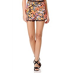 Quiz - Black And Orange Floral High Waisted Shorts