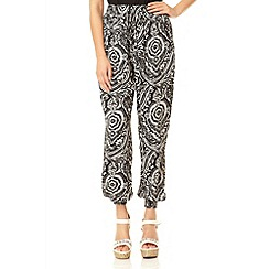 Quiz - Black and Cream Paisley Print Trousers