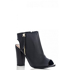 Quiz - Black Peep Toe Cut Out Block Heels