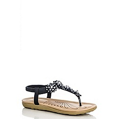 Quiz - Black Flower Diamante Sandals