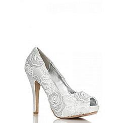 Quiz - Silver Rose Peep Toe Court Shoes