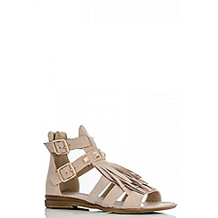 Quiz - Beige Fringe Sandals