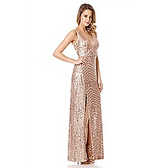 Quiz - Rose Gold Sequin V Neck Zig Zag Maxi Dress