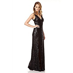 Quiz - Black Sequin V Neck Zig Zag Maxi Dress