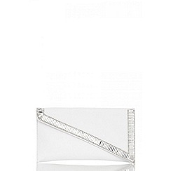 Quiz - White diamante clutch bag