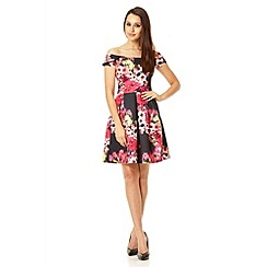 Quiz - Black floral Marcella pleat dress
